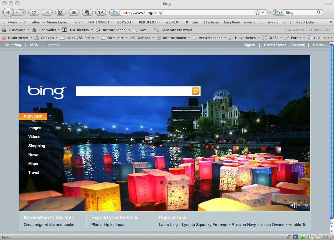 Foto von der bing Startseite
