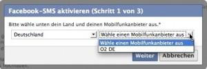 Facebook Kontoeinstellungen Mobilfunkanbieter auswählen