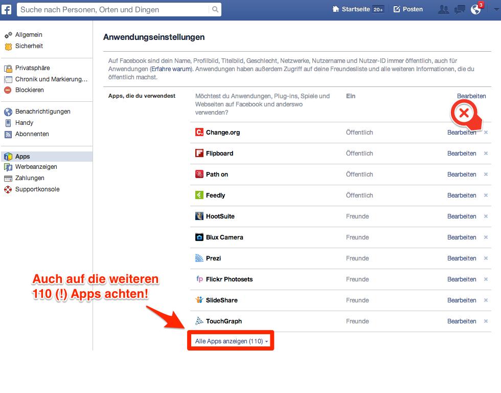 Facebook Anwendungseinstellungen