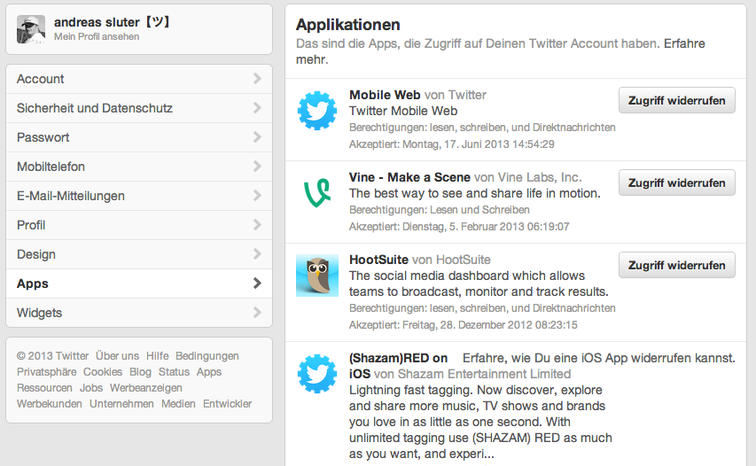Twitter Zugriffe verwalten